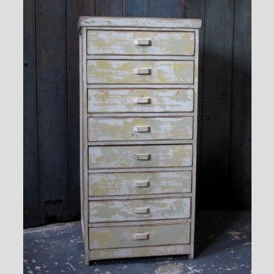 A set of painted wooden drawers