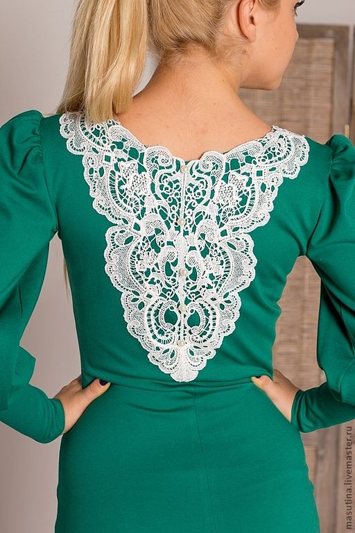 """Dress with lace / Купить Платье """"Изумруд"""" - зеленый, зеленое платье, изумрудный цвет, платье с кружевом, шитое платье"""