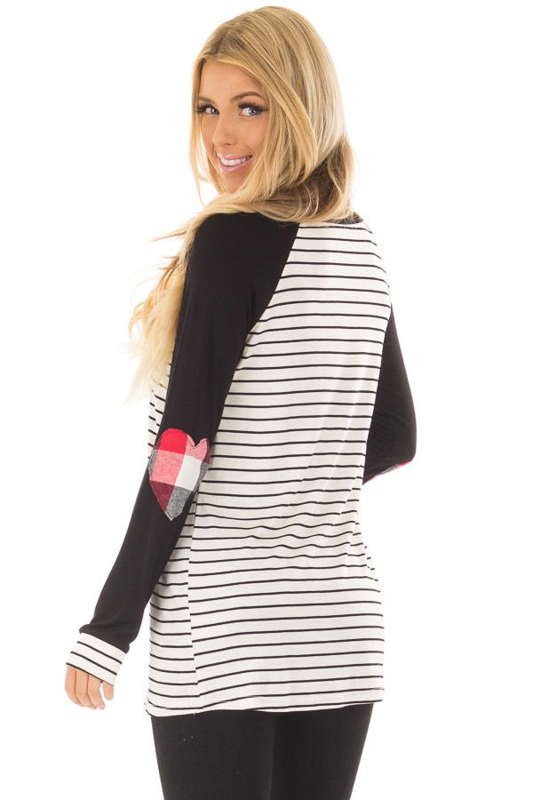 e09645ce9195 Black Striped Raglan Shirt with Plaid Heart Elbow Patches