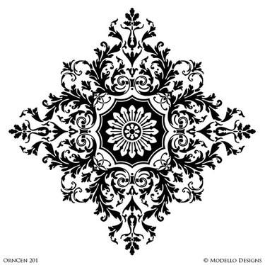 Large Designer Medallion Stencils for Decoratitve Ceilings and Wall Murals - Modello Custom Stencils
