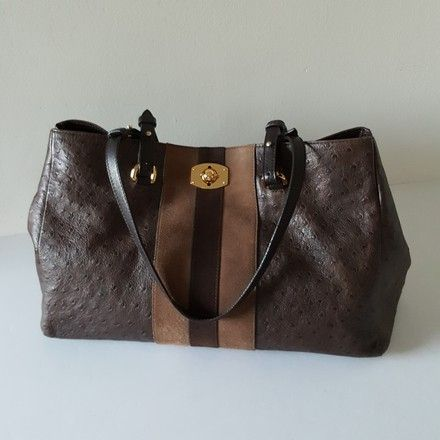 3c6f4f6c4 Get one of the hottest styles of the season! The Furla Ostrich Embossed  Brown Leather Tote is a top 10 member favorite on Tradesy.