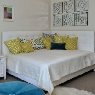 Double headboard, www.houzz.com/... good idea for a small room where bed has to go against a wall
