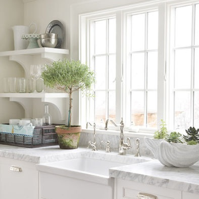55 best images about kitchen open shelves on pinterest for Traditional kitchen shelves