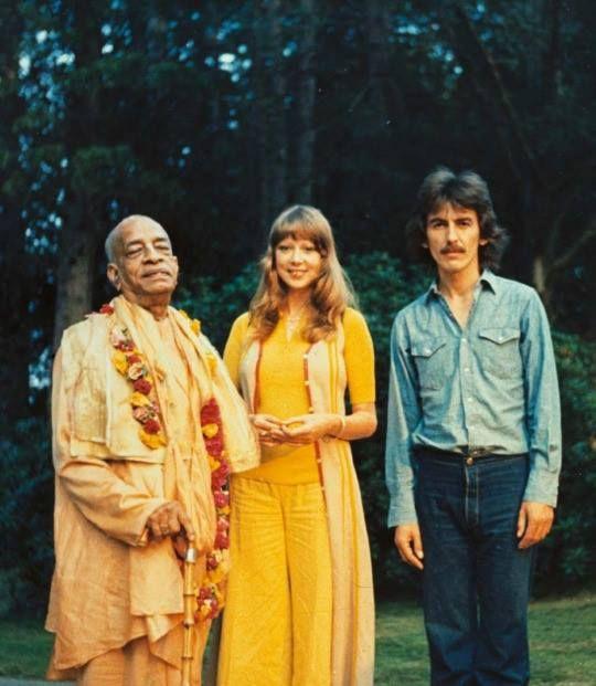 George and Pattie Harrison (nee Boyd) with Srila Prabhupada, 1968.
