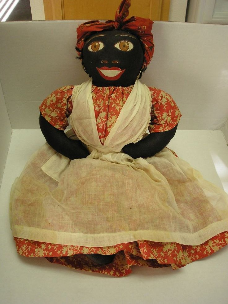 """Vintage 1941 New Orleans Black Mammy doll painted face cloth 18"""" Aunt Jemina #Dolls"""