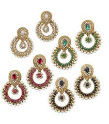 Buy Multicolor  Jewellry Set of 4 Bollywood Designer Diamond Earring Set Combo jhumka online