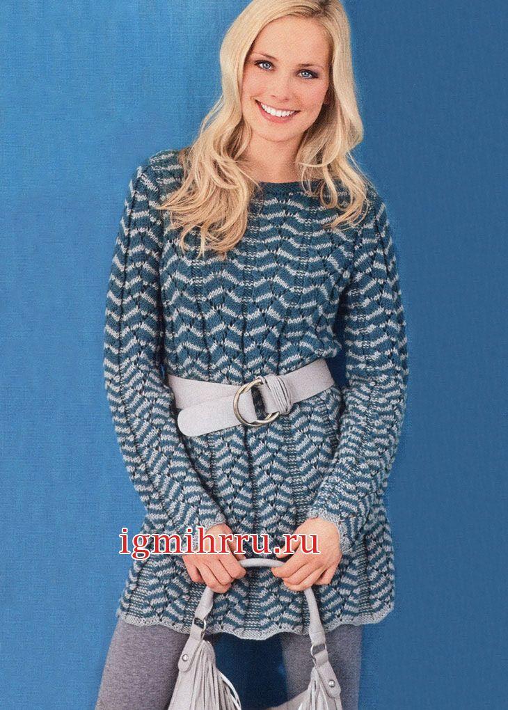 Шерстяное платье с двухцветным волнистым узором. Вязание спицами  Слегка приталенное платье связано из мериносовой шерсти двухцветным волнистым узором.  Отлично дополняют его леггинсы или плотные колготки