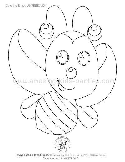 Free Bee Party Theme Coloring Sheet