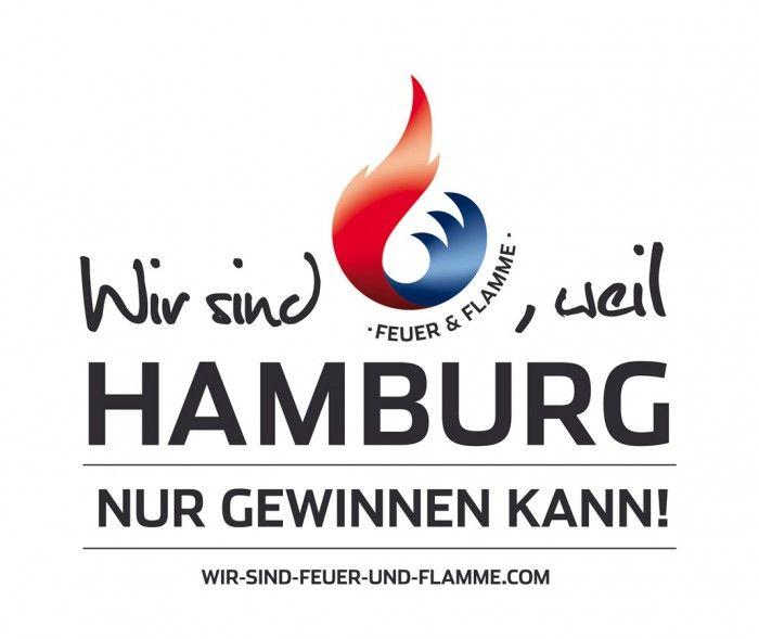 »Feuer und Flamme für Spiele in Hamburg« (Hamburger Senat), Logo und Werbekampagne der Bewerbung für die Olympischen Spiele 2024 oder 2028, Kreation: Jung von Matt/sports, Hamburg u.a., Quelle: www.designtagebuch.de/hamburg-oder-berlin-endspurt-fuer-die-werbekampagnen-um-olympia-2024/, www.wir-sind-feuer-und-flamme.com, www.abendblatt.de/hamburg/article134730574/Hamburg-nimmt-altes-Logo-fuer-die-Olympischen-Sommerspiele.html