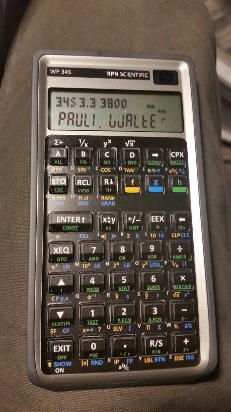 WP 34S RPN scientific calculator - A former HP 30b financial converted with new firmware and a vinyl overlay. Easily the most powerful non-graphic scientific calculator available. You can convert them or buy them already converted.