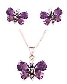 Sterling Silver, Marcasite & Amethyst Butterfly Jewelry
