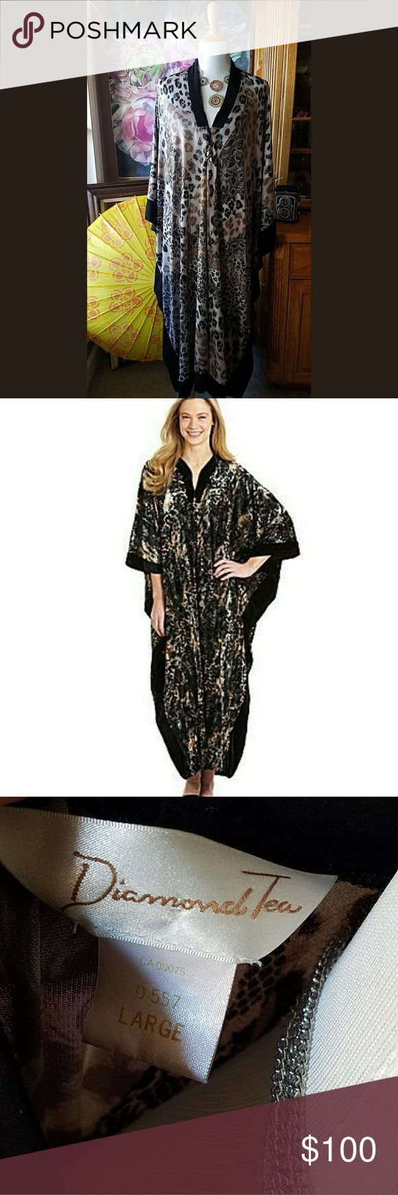 Diamond Tea Leopard Caftan! Pure Luxury! Diamond Tea known for luxurious sleep and lounge wear. This leopard beauty is a v neck zip up with lace print and black paneling. This is definitely one for the glamorous! Diamond Tea Intimates & Sleepwear