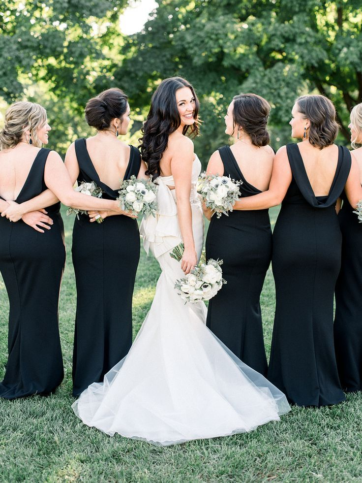 Wedding Dress Inspiration With Black Bridesmaids Dresses