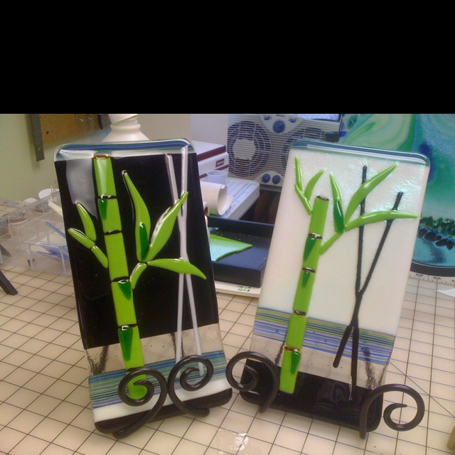 Lucky bamboo fused glass