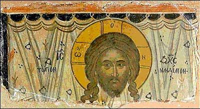 """""""Mandylion"""" of Edessa. 17th century representation of the mandylion, Mt. Athos, Greece. The mandylion was a semi-legendary relic of Christianity, a square or rectangular piece of cloth bearing the image of the face of Jesus Christ, and first appearing in the city of Edessa in the 6th century."""
