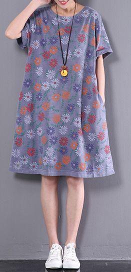 New summer o neck dresses women cotton  dress floral traveling dress