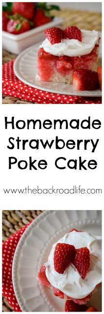 Simple homemade strawberry poke cake with a homemade white cake, strawberry jello syrup and Cool Whip topping.