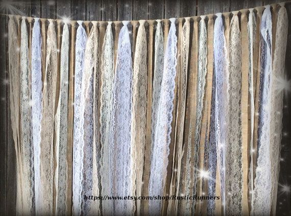 Rustic Country Barn Wedding Burlap Lace Hanging Garland Swag Rag Tie Backdrop Wedding decor Hanging photo backdrop Prop size 6 ft X 6 ft