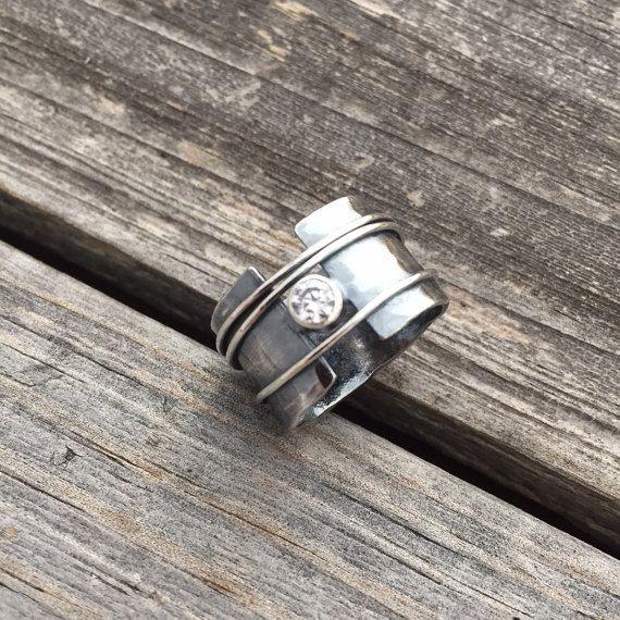 Sterling Silver Ring Sterling Silver Diamond Ring Handmade By