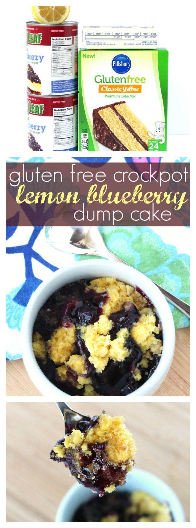 Gluten Free Crockpot Lemon Blueberry Dump Cake | A delicious gluten free slow cooker dessert, made in minutes! #ad