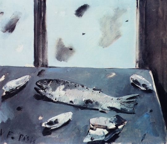 Filippo de Pisis (Italian, 1896-1956) - Still-Life with Trout, 1951