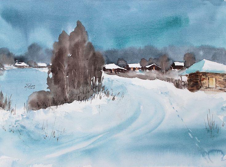 «Зимний пейзаж» акварель Екатерины Губиной