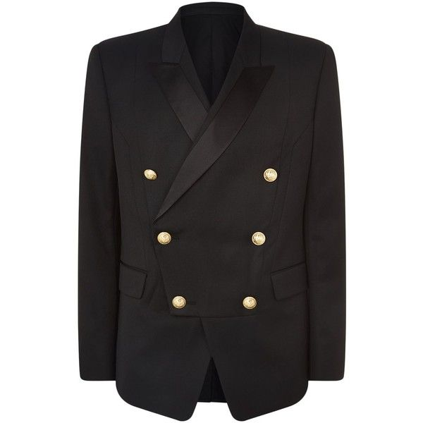 Balmain Double-Breasted Wool Jacket (€2.240) ❤ liked on Polyvore featuring men's fashion, men's clothing, men's outerwear, men's jackets, balmain mens jacket, mens wool outerwear, mens wool jacket and mens double breasted jacket