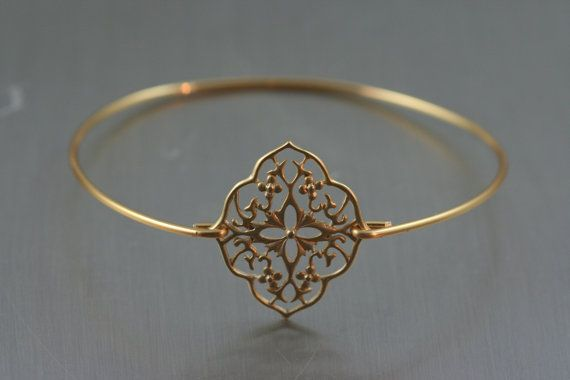 French love Gold flower filigree bangle $14