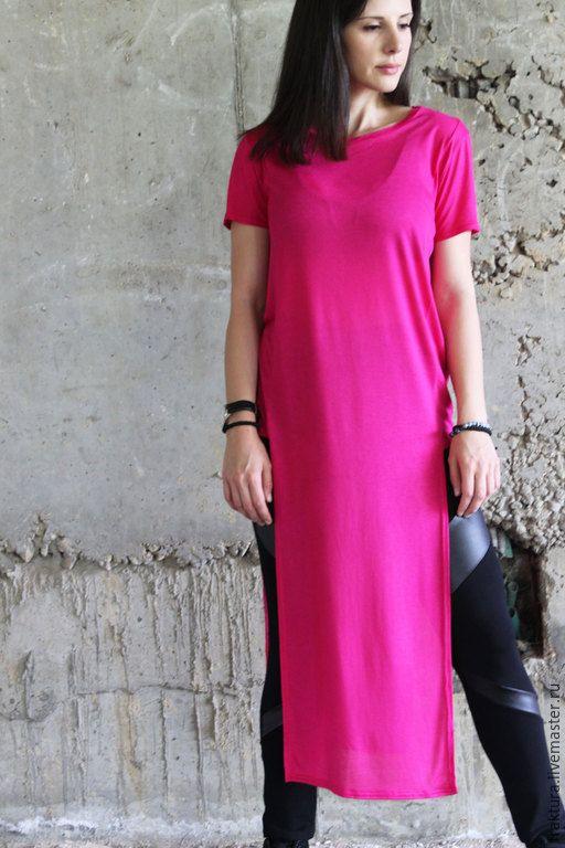 Купить Летняя Туника - Розовая B0027 - фуксия, туника, туника из хлопка, платье летнее, платье
