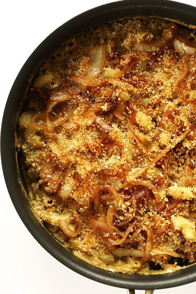 10-ingredient Caramelized Onion Mac n Cheese made completely from eggplant! NO cashews required. So creamy, healthy, cheesy and delicious!