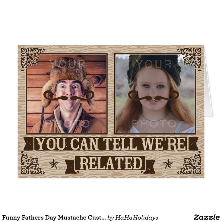 Funny Fathers Day Mustache Custom Family Photos Greeting Card - Add your pictures behind the mustaches :)