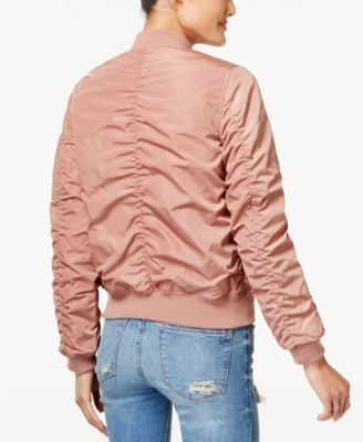 American Rag Juniors' Ruched-Back Bomber Jacket, Created for Macy's - Green XXS