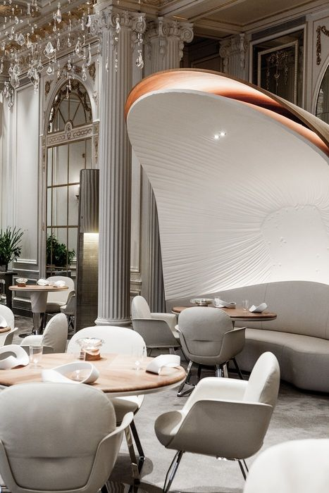 Alain Ducasse au Plaza Athénée Restaurant, Paris, France designed by Jouin Manku