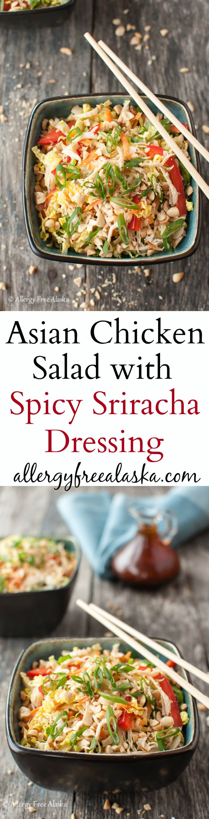 Recipe for Asian Chicken Salad with Spicy Sriracha Dressing from Allergy Free Alaska
