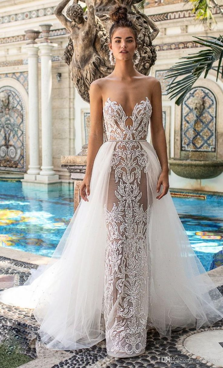 Berta 2019 Spring Mermaid Wedding Dresses Detachable Sweetheart Neck Sleeveless Sexy With Sash Bridal Gowns Lace Appliques Wedding Dress
