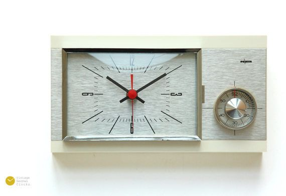 Atomic Space Age PEWETA Wall CLOCK Timer Mid Century Kitchen Germany JUNGHANS Modern cadillac Chrome mcm 50s 60s - Wanduhr