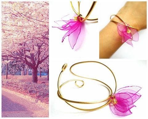 Pink virágszirmok - karkötő, Ékszer, óra, Karóra, óra, Meska