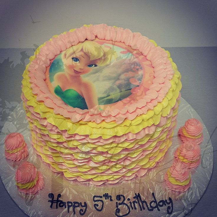 Two Colour pink and cream Frill with Tinkerbell Edible Image