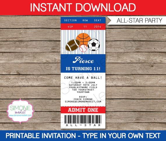 Sports Ticket Invitation Template – All Star Birthday Party Invite – INSTANT DOWNLOAD with EDITABLE text – you personalize at home