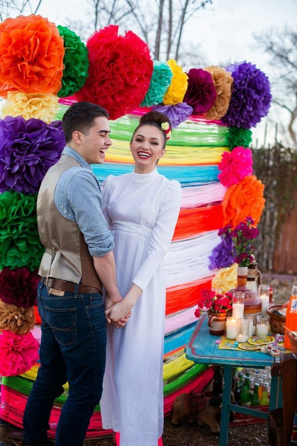Inspiration Boda Mexicana Colores Novios Backdrop