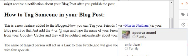 How to Mention/Tag others(From Google+ Circles) in your Blog Post