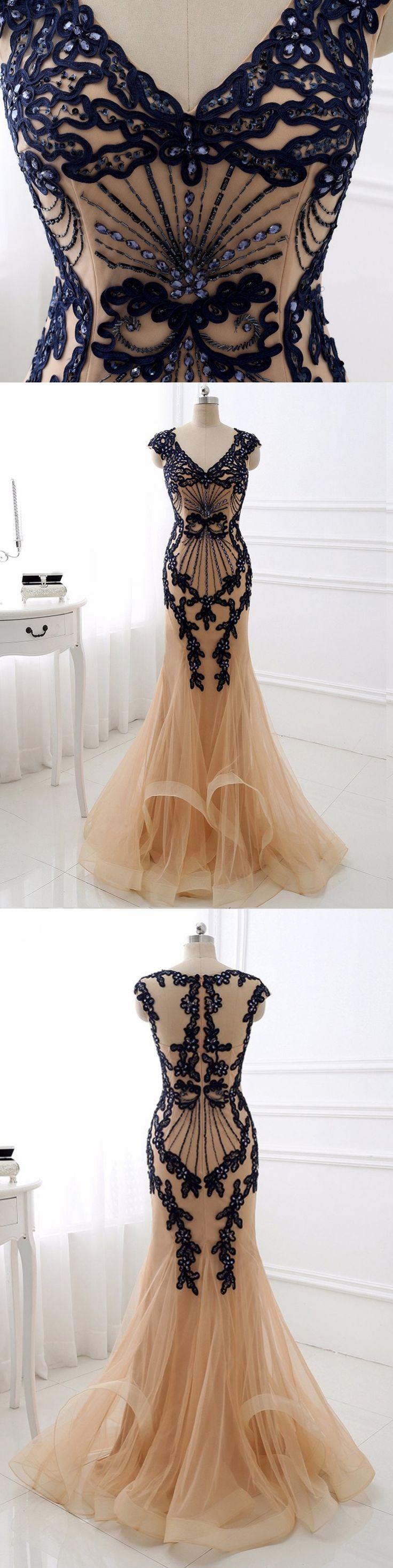 Sexy Prom Dresses Trumpet/Mermaid V-neck Rhinestone Prom Dress/Evening Dress JKL373 #annapromdress #prom #promdress #evening #eveningdress #dance #longdress #longpromdress #fashion #style #dress