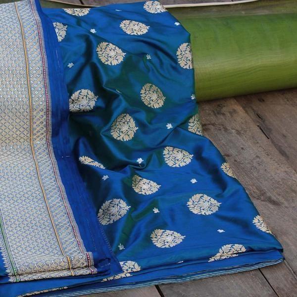 Blue-Green Pure Katan Silk Banarasi Handloom Saree