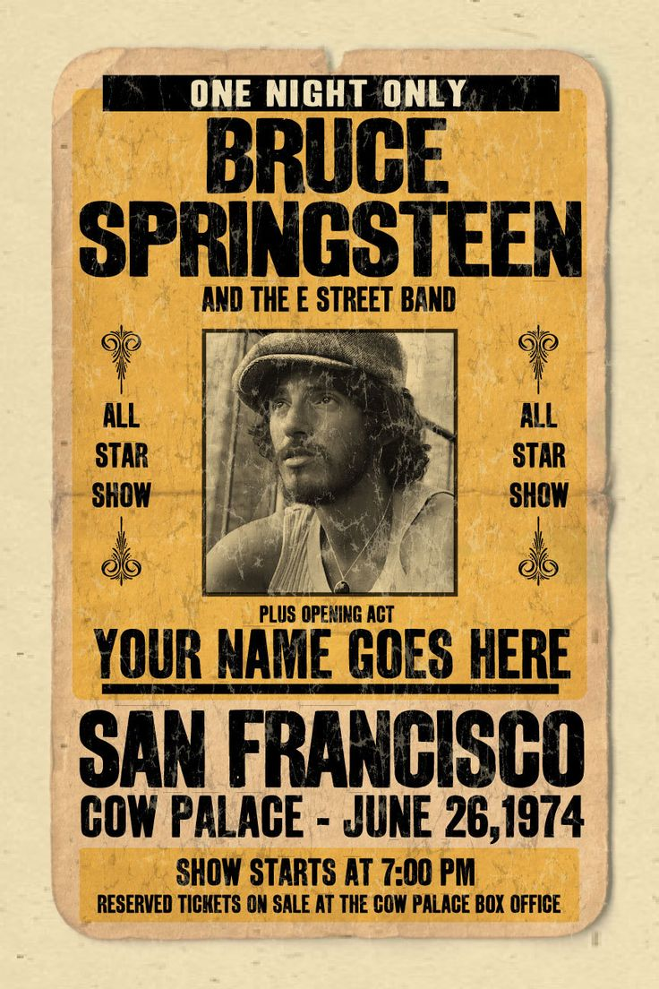 """Your Name on a Bruce Springsteen concert poster 12""""x18"""" digital heavy poster - you are the opening act"""