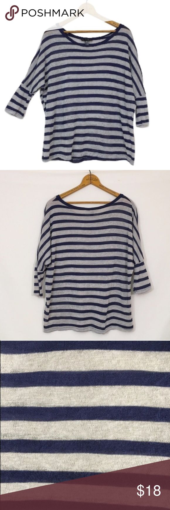 AQUA by Bloomingdales striped slouchy body top L minimal all over wash wear is present when the fabric is closely examined. Closeups show this best. Otherwise , Excellent condition! Slight sheerness and will require appropriate undergarments. Polyester, rayon.  bust 48 length 24.5 Aqua Tops Blouses