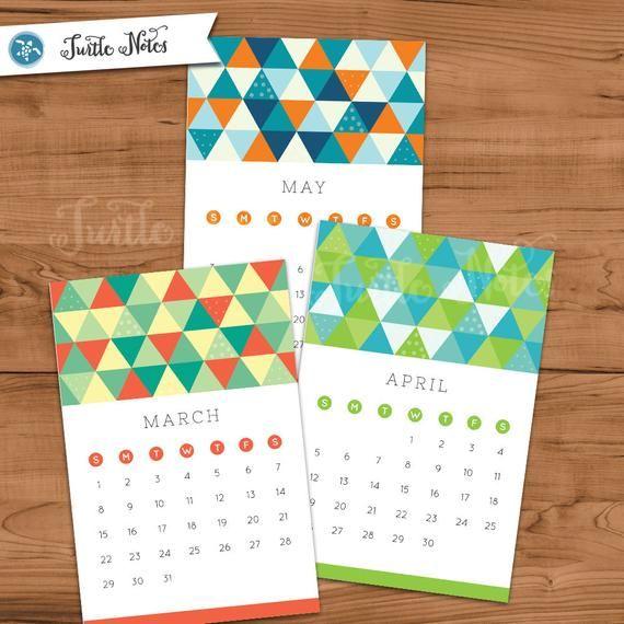 Printable 2020 Triangle Design Desk Calendar Print Your Own 4x6