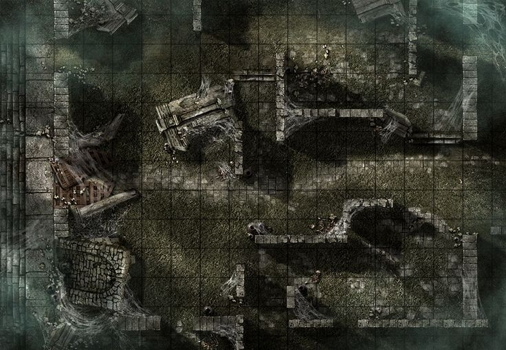 Forgotten Ruins, a printable battle map for Dungeons and Dragons / D&D, Pathfinder and other tabletop RPGs. Tags: ruins, lost, undead, spiders, fog, web, puzzle, horror, encounter, point defense, stones, crypt, print