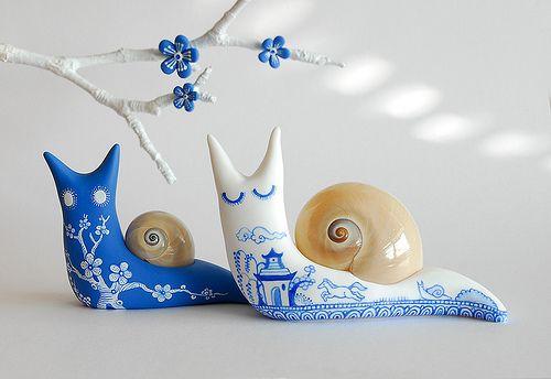 Beautiful polymer snails from JooJoo