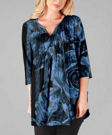 Blue & Black Floral Pin Tuck Notch Neck Tunic - Plus Too #zulily #zulilyfinds
