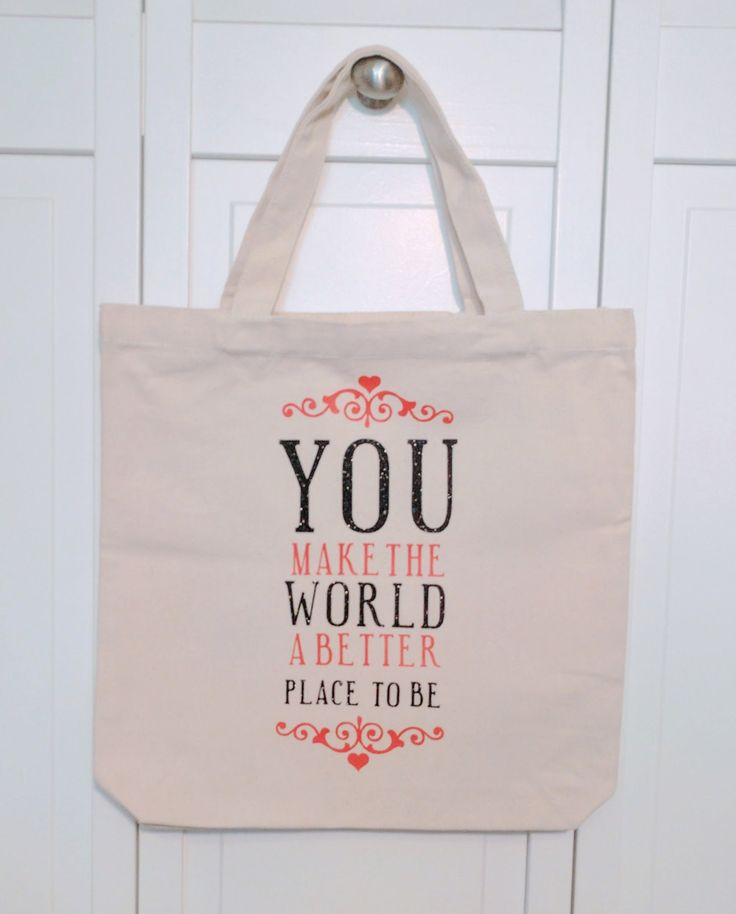 Teacher tote bag, You make the world a better place, teacher gifts, tote bag gift, canvas tote bag, tote bag with phrase,gifts for teachers, by KittyandSpunky on Etsy